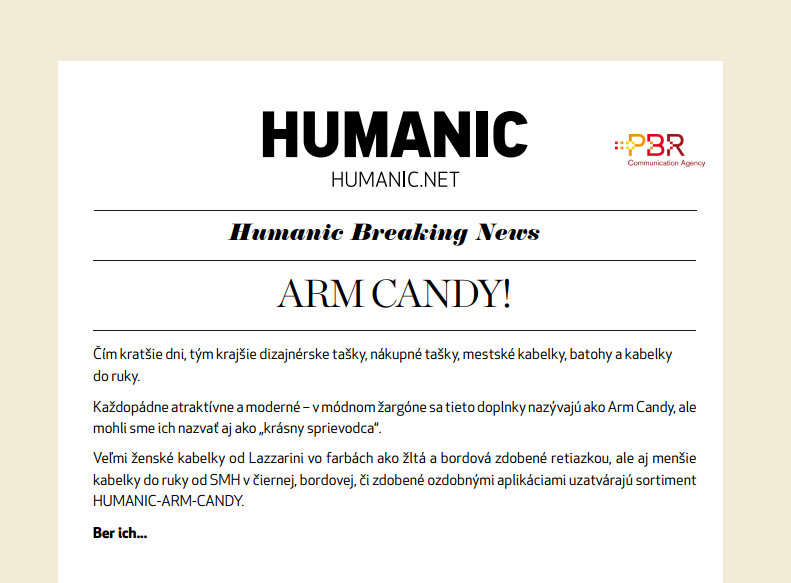 HUMANIC Newsletter ARM CANDY!